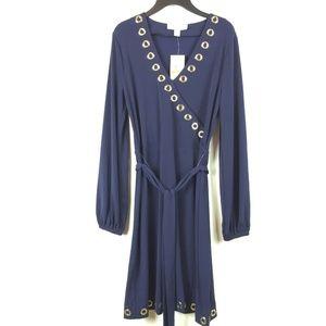 Micheal Kors S Navy V Neck Dress 4AM24